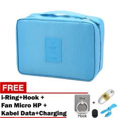 Beli Trend S Monopoly Bag Travel Organizer Biru Gratis I Ring Hook Fan Micro For Smartphone Kabel Data Charging Yang Bagus