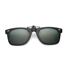 Promo Trendi Clip On Flip Up Karet Klip Kacamata Terpolarisasi Lensa Hijau Hitam Gelap Oem Terbaru