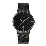 Beli Ttlife Merek Mewah Pria Fashion Dan Kasual Ultra Tipis Stainless Steel Mesh Band Tanggal Waterproof Quartz Wrist Watch Hitam Nyicil