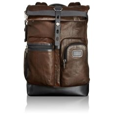 TUMI Luke Roll Top Leather Backpack (Dark Brown)