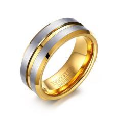 Jual Tungsten Cincin Untuk Pria Perhiasan Berlapis Emas 8Mm Punk Men S Ring Hadiah Natal Intl Di Bawah Harga