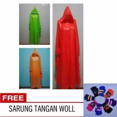 Twin Elephant Jas Hujan Poncho Dengan Lengan Tangan Orange Free Sarung Tangan Woll