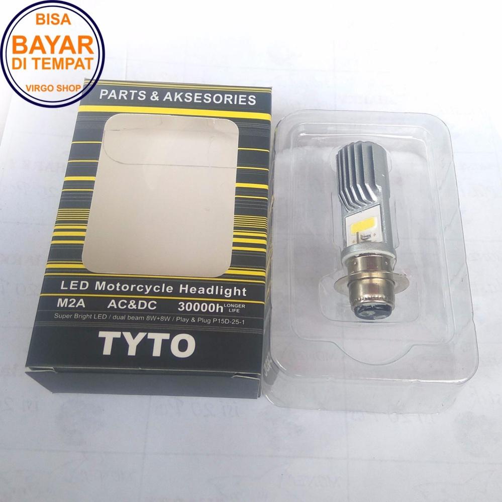 Bohlam Led Hid Motor Terbaru Lampu Depan Utama Mata 6 Sisi M02e Super Terang Tyto 2 Tipe M2a Bebek Dan Matik Soket H6 Putih