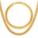 Harga U7 18 Set Kalung Pria Dan Gelang Pria Perhiasan Rantai Lapis Emas Asli 18K Terbaru Emas Yang Bagus