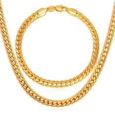 Review Toko U7 18 Set Kalung Pria Dan Gelang Pria Perhiasan Rantai Lapis Emas Asli 18K Terbaru Emas