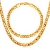 U7 45 72 Cm Panas Klasik 18 Karat Asli Berlapis Emas Gelang Kalung Rantai Set Emas Internasional Tiongkok