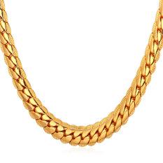 U7 45,72 cm panas klasik 18 karat asli berlapis emas kalung rantai (Gold)- International