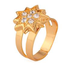 U7 18 KB Nyata Emas Berlapis Kristal Lucky Bintang Wanita Ukuran Bebas Cincin Band Mode Perhiasan
