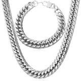Spek U7 66 04 Cm Gaya Amerika Chunky Rantai Kalung Gelang Stainless Steel Set Perhiasan Gaya Fashion Pria Berandalan Putih Tiongkok