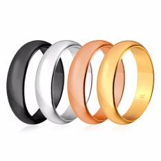 U7 4 Pcs/lot Tali Sederhana Set Cincin 18 K Gold Disepuh/Mawar Gold/Hitam/Platinum Disepuh Ukuran 5-12 Modis Pasangan Cincin (Gold/Perak/Hitam/Mawar Gold) -Internasional