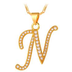 U7 Abjad N Kalung Liontin Inisial Kubik Zirconia 18 KB Nyata Emas Berlapis Fashion Wanita/Pria Hadiah Perhiasan (Emas)