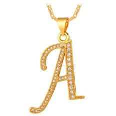 U7 Liontin Kalung Awal Alfabet Kubik Zirkonia 18 KB Nyata Emas Berlapis Fashion Wanita/Pria Hadiah Perhiasan (Emas)