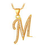 U7 Liontin Kalung Awal Abjad M Kubik Zirconia 18 Karat Asli Berlapis Emas Fashion Wanita Pria Hadiah Perhiasan Emas U7 Diskon