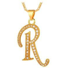 U7 Abjad R Awal Pasangan Kalung Kubik Zirkonia 18 KB Nyata Emas Berlapis Fashion Wanita/Pria Hadiah Perhiasan (emas)