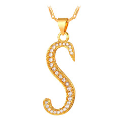 U7 Abjad S Kalung Liontin Inisial Kubik Zirconia 18 KB Nyata Emas Berlapis Fashion Wanita/Pria Hadiah Perhiasan (Emas)