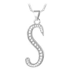 U7 Alphabet S Liontin Kalung Cubic Zirconia Platinum Disepuh Fashion Wanita/Pria Perhiasan Hadiah (Platinum)