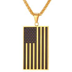 Jual U7 Amerika Bendera Nasional Kalung Pasangan 18 Kb Nyata Emas Berlapis Fashion Pria Wanita Perhiasan Emas Tiongkok
