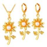 Toko Jual U7 Anting Anting Mutiara Kalung Bunga Yang Ditetapkan 18 Kb Nyata Emas Berlapis Perempuan Mode Perhiasan Emas