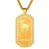 Harga U7 Aries Konstelasi 18 Karat Asli Berlapis Emas Perhiasan Kalung Liontin Kristal Zodiak Unisex Emas Online