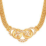 Review U7 Austrian Rhinestone 18K Gold Plated Necklace Gold Tiongkok