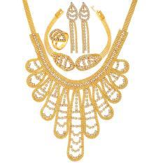 U7 Indah Berlian Imitasi Austria Mewah Pernikahan Perhiasan Set untuk Wanita Emas Disepuh Anting Anting-anting Anting-Anting Anting-Anting Cincin Sempurna Pertunangan Wanita Aksesoris (2 Warna) -Intl