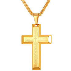 U7 Ayat Alkitab Salib Liontin Kalung Fashion 18 Karat Asli Berlapis Emas Pria/Wanita Perhiasan Aksesoris Keagamaan Hadiah Sempurna (emas)