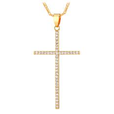 U7 Kalung Liontin Salib Kubik Zirkonia 18 Karat Asli Berlapis Emas Fashion Perhiasan (Emas)