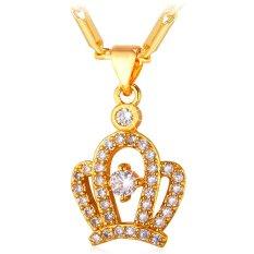 Jual U7 Crown Kubik Zirconia Perhiasan Wanita Kalung Liontin Cantik Berlapis Emas Di Bawah Harga