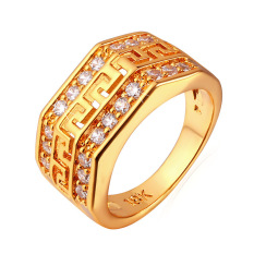 U7 G Eropa Surat Kubik Zirkonia Berlapis Emas Perhiasan Cincin Pria Emas Diskon Akhir Tahun