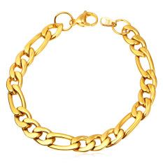 U7 Figaro Gelang Rantai 9 mm 18 KB Nyata Emas Berlapis Fashion Laki-Laki Perhiasan