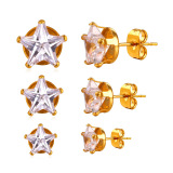 Harga U7 Five Pointed Star Earrings Set For Women Jewelry Trendy Gold Plated Cubic Zirconia 3 Pair Pentacle Stud Earrings Set Perfect Gift Accessories Gold Intl Yang Murah