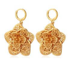 Toko U7 Anting Bunga Baru Trendi 18 Kb Nyata Emas Perhiasan Berlapis Lubang Tanaman Anting Desain Untuk Wanita China Emas Online Terpercaya