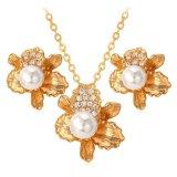 Jual U7 Bunga Perhiasan 18 Karat Asli Berlapis Emas Berlian Imitasi Putih Anting Anting Kalung Set Mutiara Romantis Wanita Emas Murah Tiongkok