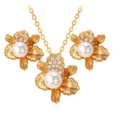 Harga U7 Bunga Perhiasan 18 Karat Asli Berlapis Emas Berlian Imitasi Putih Anting Anting Kalung Set Mutiara Romantis Wanita Emas Tiongkok