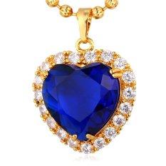 U7 Liontin Kalung Hati Samudra dari Kubik Zirkonia Biru Batu Alam 18 Karat Asli Berlapis Emas Perhiasan