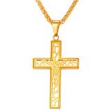 Spesifikasi U7 Hollow Out Cross Pendant Necklace Fashion Pria Wanita Perhiasan Agama Kristen Aksesoris Rantai Panas Hitam Terbaru
