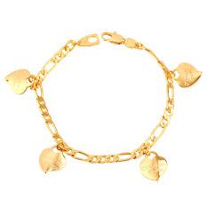 U7 Aku Cinta You Romantis Pesona Jantung Gelang untuk Wanita, China 18 KB Nyata Emas Berlapis Hadiah Perhiasan (Emas)
