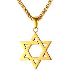 Harga U7 Perhiasan Yahudi Magen Bintang David Liontin Kalung Wanita Pria Rantai 18 K Berlapis Emas Israel Kalung Emas Yang Bagus