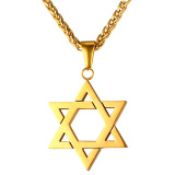Beli U7 Yahudi Magen Perhiasan Lambang Bintang David Liontin Kalung Rantai Pria Wanita 18 Karat Berlapis Emas Kalung Israel Emas Nyicil