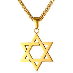 Harga U7 Yahudi Magen Perhiasan Lambang Bintang David Liontin Kalung Rantai Pria Wanita 18 Karat Berlapis Emas Kalung Israel Emas Di Tiongkok