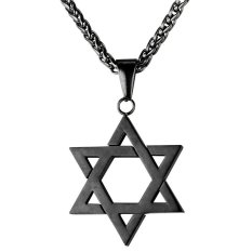 Diskon Produk U7 Jewish Magen Perhiasan Berbintang David Pasangan Wanita Pria Kalung Rantai Hitam Kalung Israel Senjata Tumpul Hitam