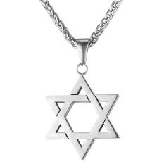 U7 Perhiasan Yahudi Magen Bintang David Liontin Kalung Wanita Pria Rantai Stainless Steel Israel Kalung (Putih)