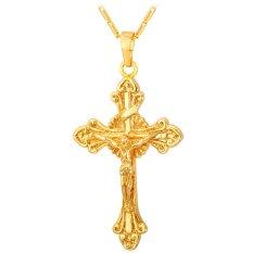 U7 Latin Salib Yesus Pieces Pendant Kalung 18 K Emas Emas Disepuh Fashion Wanita/Pria Religius Perhiasan (Emas)