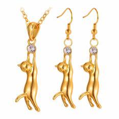 U7 Lovely Cat Pendant Kalung Earrings Set Hadiah untuk Wanita Rhinestone Kuning Emas Disepuh/Platinum Plated Jewelry Sets Sempurna Aksesoris Hadiah (Emas/Perak) -Intl