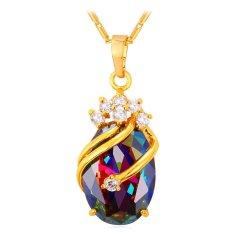 Jual U7 Mewah Crown Kubik Zirkonia Liontin Kalung Untuk Wanita China 18 Karat Asli Berlapis Emas Fashion Air Drop Hadiah Perhiasan Emas Tiongkok Murah