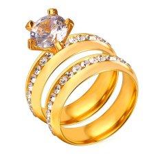 U7 Luxury Rhinestone Beberapa Cincin Set untuk Lover 18 K Emas Emas Disepuh Fashion Wanita Pernikahan