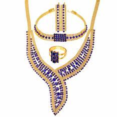 U7 Mewah Pernikahan Perhiasan Set untuk Wanita Berlian Imitasi Austria Berlapis Emas Anting Anting-anting Anting-Anting Anting-Anting Cincin Sempurna Pertunangan Wanita Aksesoris (4 Warna) -Intl