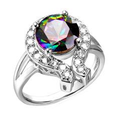 U7 Mewah Pertunangan Zirkonia Cincin untuk Wanita Fancy Stone Platinum Disepuh Perhiasan Aksesoris (Platinum)