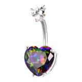 Harga U7 Luxury Zirconia Drop Hati Pusar Platinum Berlapis Wanita Perhiasan Tubuh Perhiasan Cincin Pusar Tindik Tubuh Platinum Seken