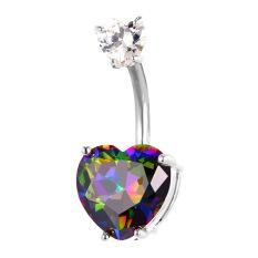Toko U7 Luxury Zirconia Drop Hati Pusar Platinum Berlapis Wanita Perhiasan Tubuh Perhiasan Cincin Pusar Tindik Tubuh Platinum Termurah Tiongkok